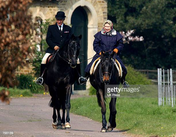 The Queen rides a horse at Windsor Castle the morning before the Queen Mother's death March 30, 2002 in Berkshire, England. Buckingham Palace...