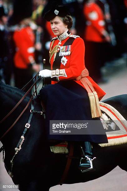 The Queen Riding Sidesaddle During The Trooping The Colour Ceremony