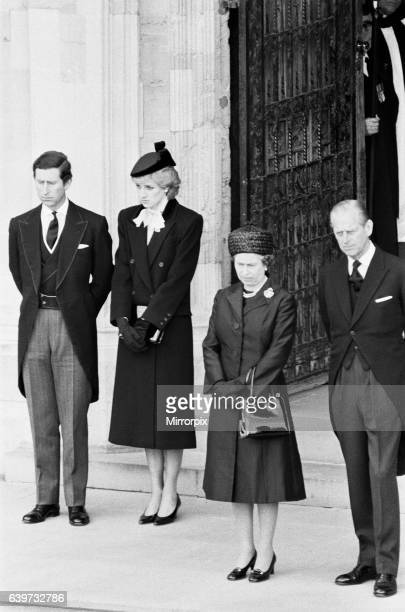 The Queen seen here with the Duke of Edinburgh and the Prince and Princess of Wales on the steps of St Georges Chapel Windsor Castle for the funeral...