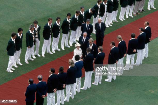 HM The Queen shakes hands with England bowler Neil Foster as England captain David Gower presents the England team during the 2nd Test match between...