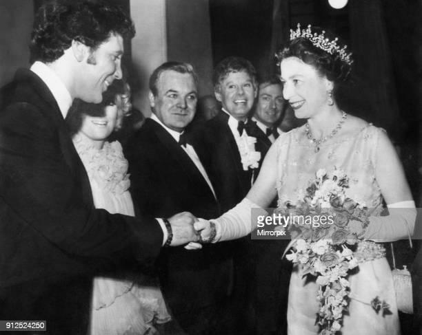 The Queen shaking hands with Tom Jones at the Royal Variety Show at the London Palladium, 13th May 1968.