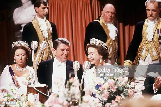 The Queen Sharing A Joke With President Ronald Reagan During A Banquet At Windsor Castle