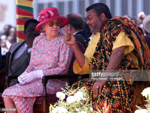 The Queen speaks with Ghana 's President Flight Lieutenant Jerry Rawlings as the Queen addressed Ghana 's Parliament and underlined the importance of...