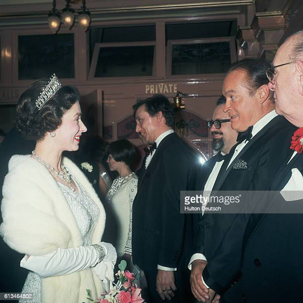 The Queen talks to the American entertainer Bob Hope at the 1967 Royal Variety Performance at the London Palladium.