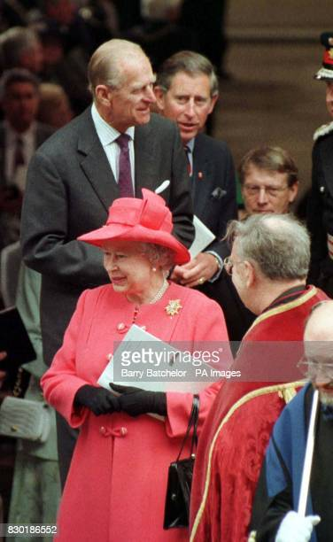 The Queen, the Duke of Edinburgh and their son the Prince of Wales leave Llandaff Cathedral in Cardiff, Wales. The Queen is in Cardiff to open the...