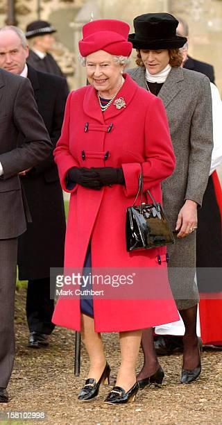 The Queen & The Duke Of Edinburgh Attend A Sunday Service At Castle Rising Church, Near Sandringham. .