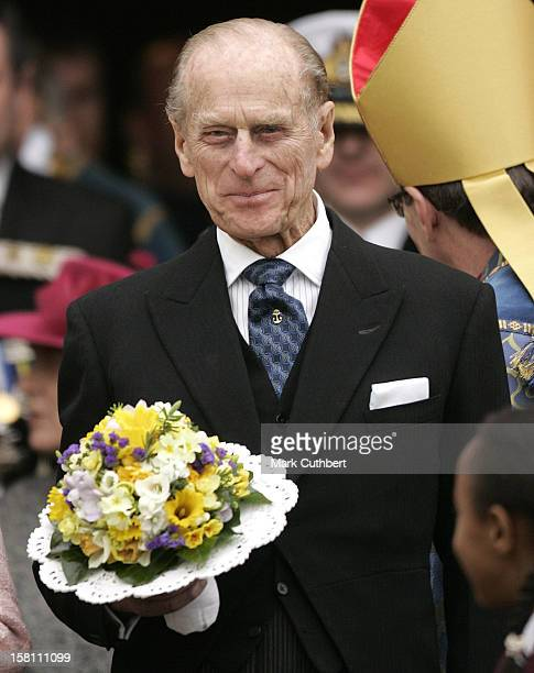 The Queen & The Duke Of Edinburgh Attend The Royal Maundy Service At Manchester Cathedral.