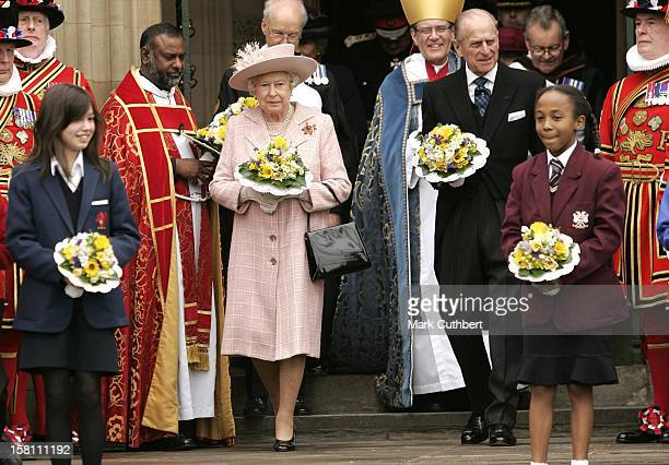The Queen & The Duke Of Edinburgh Attend The Royal Maundy Service At Manchester Cathedral. .