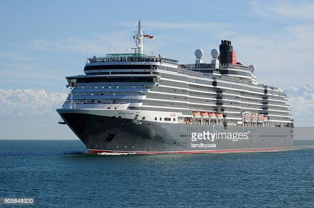 the ms queen victoria approache from the sea - queen victoria stock pictures, royalty-free photos & images