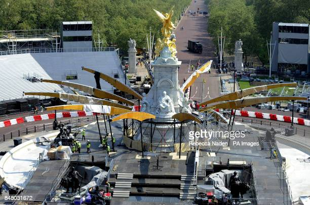 The Queen Victoria Memorial being prepared for the Diamond Jubilee Concert as seen from the roof of Buckingham Palace London