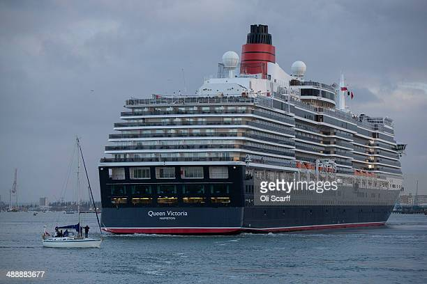 The 'Queen Victoria' ocean liner docks in Southampton to celebrate the 'Queen Mary 2' 10th anniversary on May 9, 2014 in Southampton, England. The...