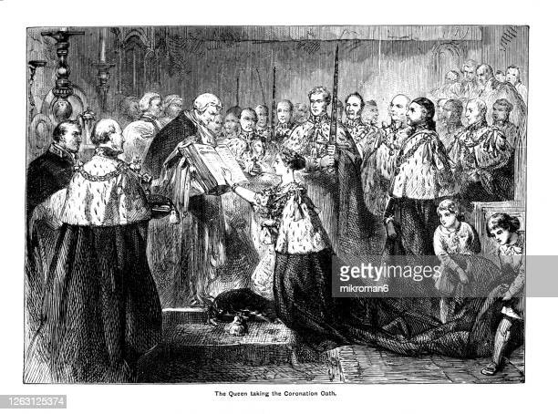 the queen victoria taking the coronation oath, antique engraving illustration - queen victoria stock pictures, royalty-free photos & images