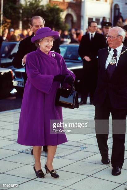The Queen Visiting Winchester. She Is Wearing A Coat By Fashion Designer Hardy Amies And Shoes By Rayne.