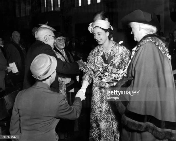 The Queen visits Sutton Coldfield Town Hall before the start of the Jubilee Jamboree, 3rd August 1957.