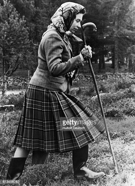 The Queen walking at Balmoral whilst attending Gun Dog Trials 1967