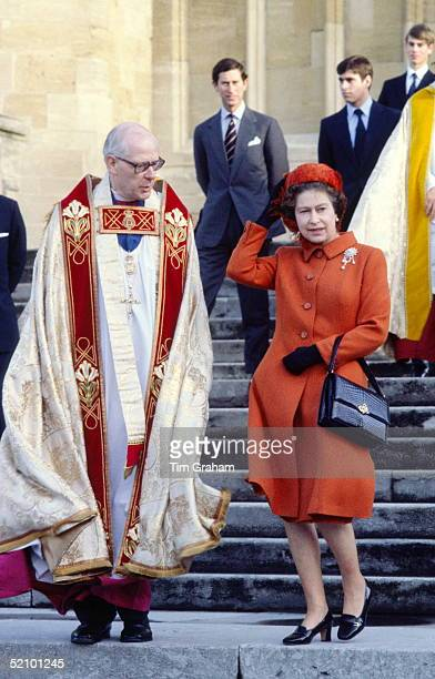The Queen Walking Down The Steps Of St George's Chapel With The Right Reverend Michael Mann Dean Of Windsor After Attending Christmas Service Prince...