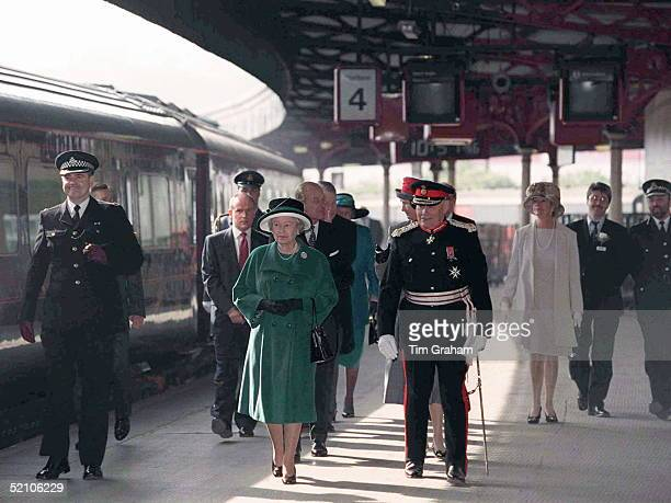 The Queen walks with the Lord Lieutenant Arriving On The Royal Train For Maundy Service At Bristol Cathedral