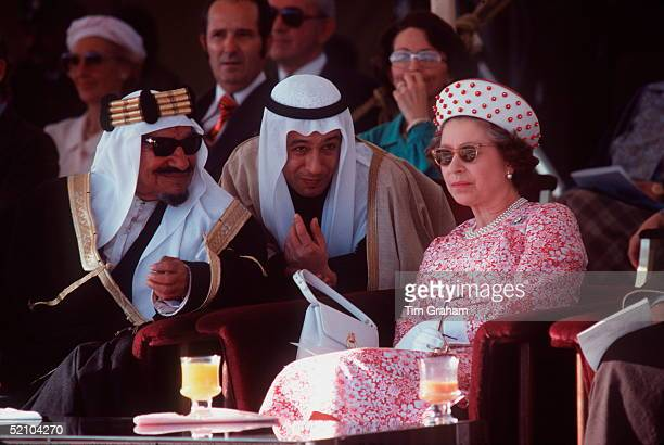 The Queen Watching A Dancing Display In Kuwait With Sheikh Abdullah Jabir