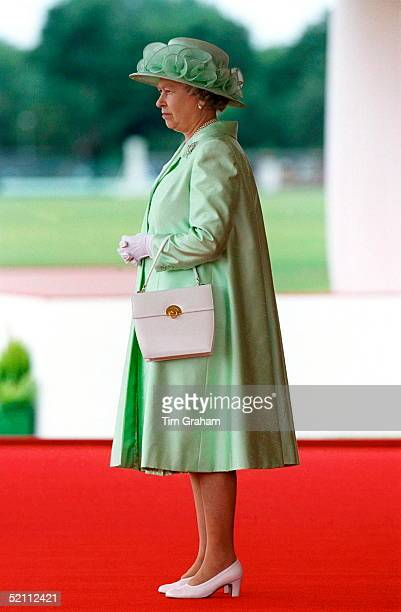 The Queen Watching The Ceremonial Welcome For President Goncz Of Hungary At The Home Park, Windsor.