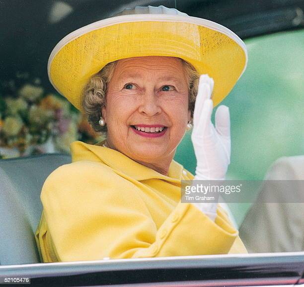 The Queen Waving From Her Official Car Whilst On A Visit To Derbyshire
