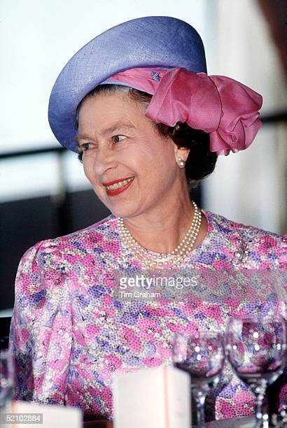 The Queen Wearing A Hat Designed By Frederick Fox At A Luncheon At The National University Of Singapore Singapore