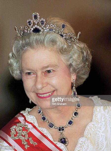 The Queen Wearing A Sapphire And Diamond Tiara And Necklace Attending A State Banquet Given By President Havel, Prague, Czech Republic.