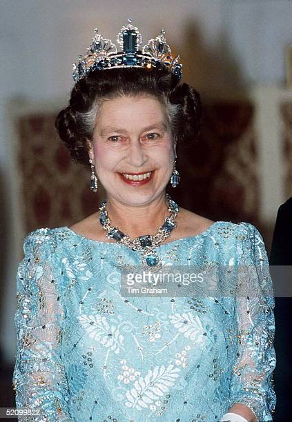 The Queen Wearing An Aquamarine And Diamond Tiara Necklace And Earrings Given To Her By The People Of Brazil As A Gift On Her Marriage