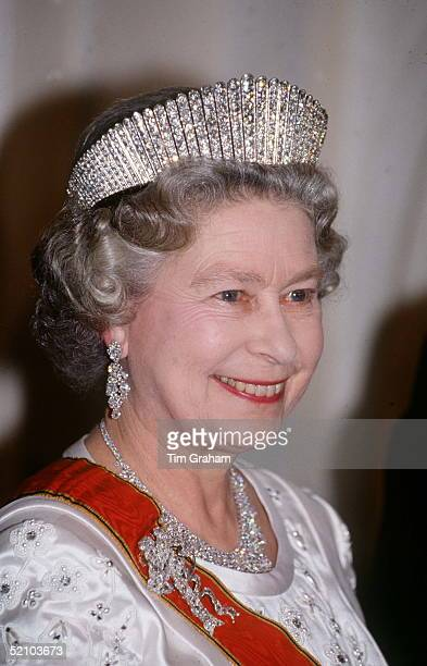 The Queen Wearing Queen Alexandra's Russian Fringe Tiara At A State Banquet In Her Honour At Schloss Augustusburg Bruhl Germany