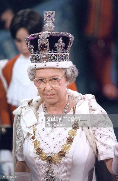 The Queen Wearing The Imperial State Crown At The State Opening Of Parliament In London.