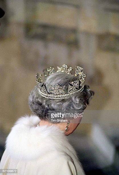 The Queen Wears The King George Iv State Diadem Which Is Decorated With Symbolic Roses Shamrock And Thistle It Was Worn By Queen Victoria And Queen...