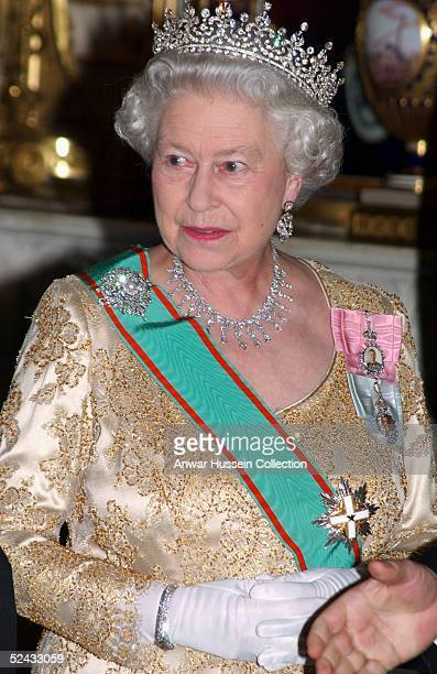 The Queen welcomes the Italian Republic President Carlo Azeglio Ciampi and his wife Signora Ciampi at a State Banquet during their state visit to the...