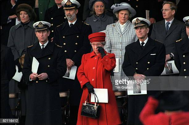 The Queen Wiping A Tear From Her Eye At The Decommissioning Ceremony For Hmy Britannia With Her Are Prince Philip And Prince Charles And Behind Her...