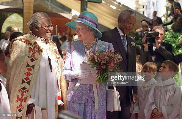 The Queen With Archbishop Desmond Tutu And President Nelson Mandela In South Africa