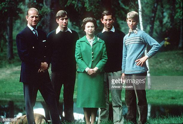 The Queen with her husband the Duke of Edinburgh and her three sons the Duke of York the Prince of Wales and the Earl of Wessex on holiday in...