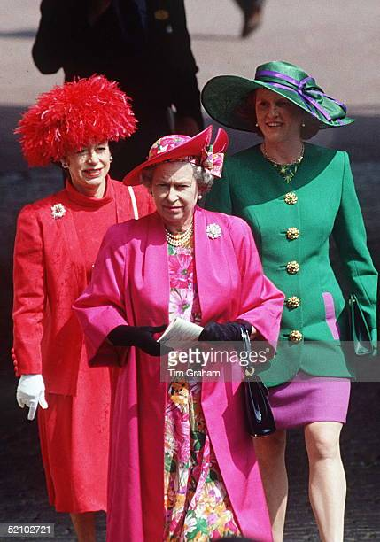 The Queen With Her Princess Margaret And Daughter-in-law, The Duchess Of York At Ascot.