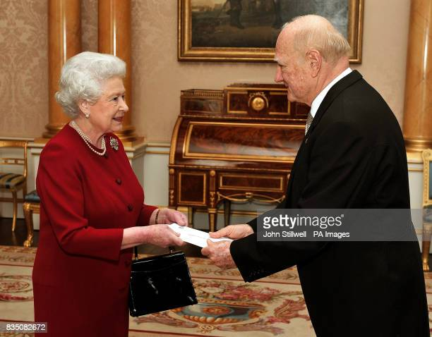 The Queen with His Excellency the Ambassador of El Salvador Dr Roberto AvilaAvilez at Buckingham Palace where he presented his Credentials