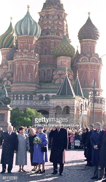The Queen With President Boris Yeltsin In Red Square Moscow Russia