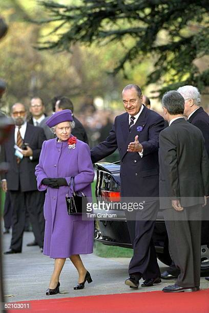 The Queen With President Chirac At The Unveiling Of A Statue To Sir Winston Churchill In Paris, France.