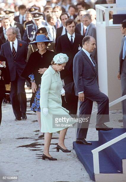 The Queen With President Francois Mitterand Followed By Queen Beatrix Of The Netherlands Step Onto The Stand For Dday Celebrations On Utah Beach...