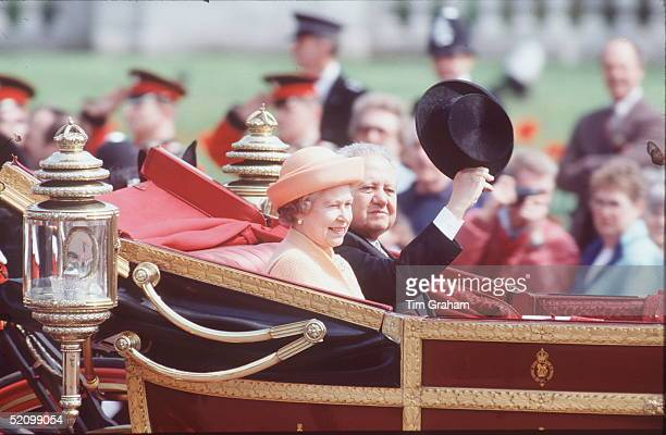 The Queen With President Soares Of Portugal In A Carriage Procession At The Start Of His State Visit To Britain