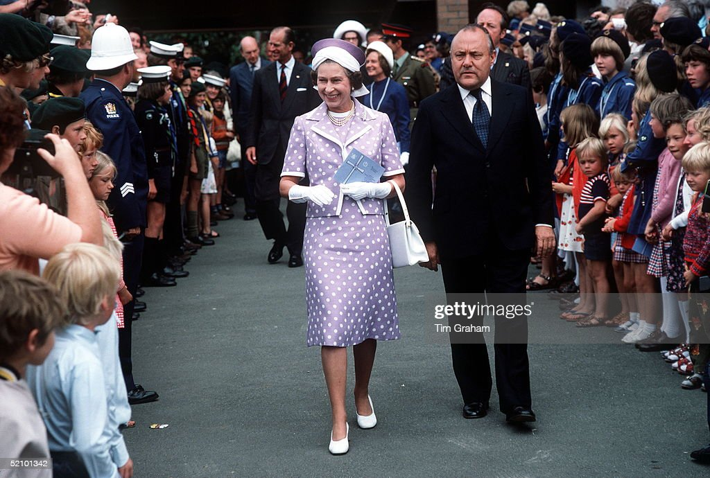 The Queen With Prime Minister Muldoon In Wellington, New Zealand (exact Date Not Certain) During Her Jubilee Tour.