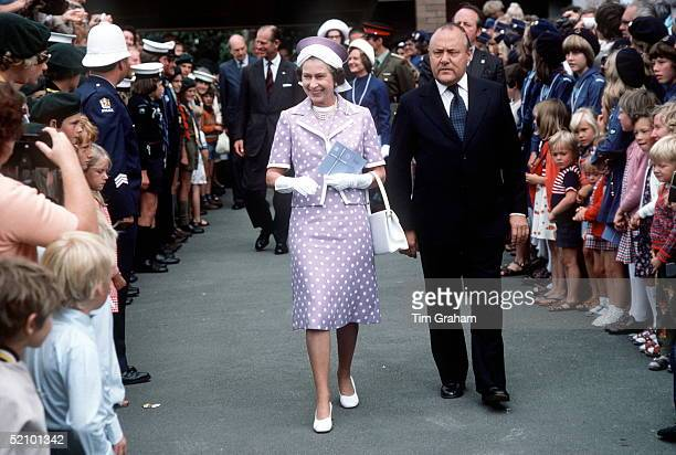 The Queen With Prime Minister Muldoon In Wellington, New Zealand During Her Jubilee Tour.
