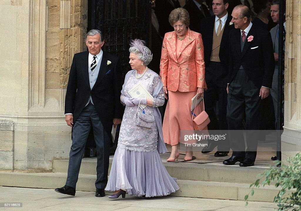The Queen With The Father Of The Bride, Mr Rhys-jones, Followed By Prince Philip With Mrs Rhys-jones At The Wedding Of Prince Edward To Sophie Rhys-jones, Windsor.