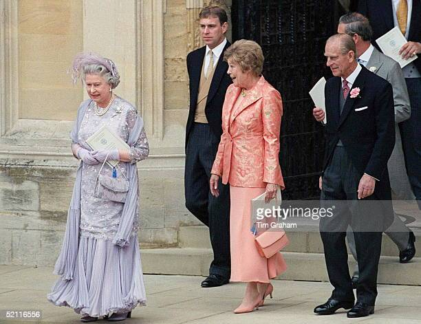 The Queen With The Mother Of The Bride Mrs Rhysjones Followed By Prince Philip Prince Andrew And Prince Charles At The Wedding Of Prince Edward To...
