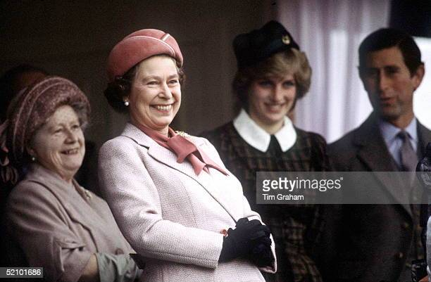 The Queen With The Queen Mother Princess Diana And Prince Charles At The Braemar Games During Their Annual Holiday In Scotland