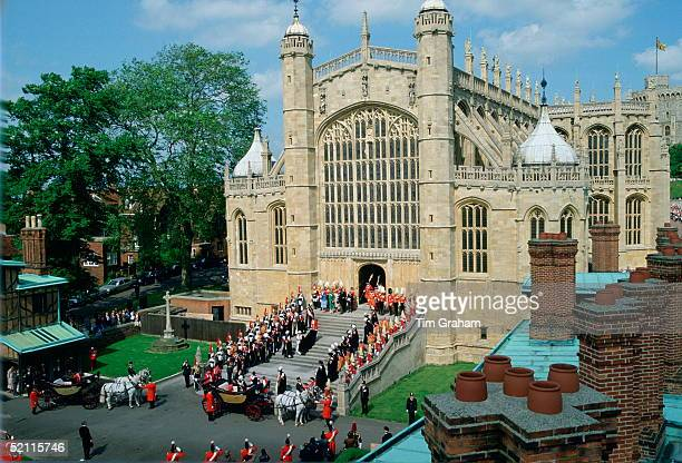 The Queen's Carriage Is Waiting For Her At The Bottom Of The Steps On The West Front Of St George's Chapel After The Ceremony Of The Order Of The...