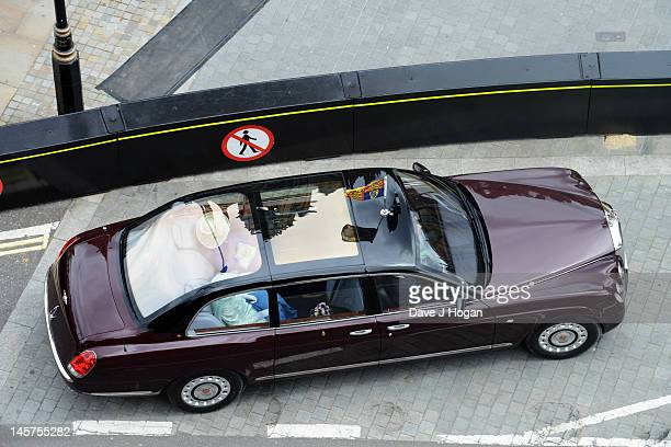 The Queens carriage procession passes through London on June 5 2012 in London England For only the second time in its history the UK celebrates the...