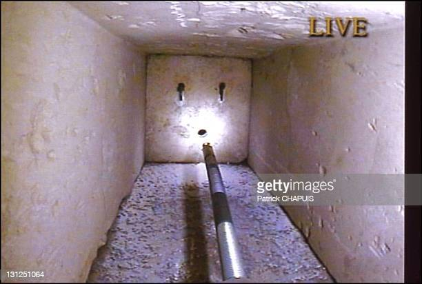 The Queen's chamber in the pyramid of Kheops The vent though which the Pyramid Rover robot was introduced in 2002 The limestone door and its two...