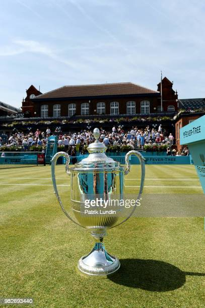 The Queens Club trophy displayed on centre court during Day seven of the FeverTree Championships at Queens Club on June 24 2018 in London United...