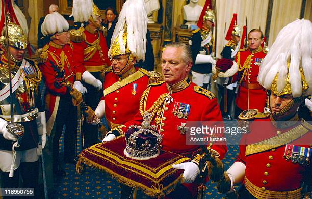 The Queen's Crown is carried at the State opening of Parliament on Tuesday May 17 2005